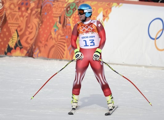 Feb 9, 2014; Krasnaya Polyana, RUSSIA; Beat Feuz (SUI) competes in the men's downhill during the Sochi 2014 Olympic Winter Games at Rosa Khutor Alpine Center. Mandatory Credit: Jack Gruber-USA TODAY Sports