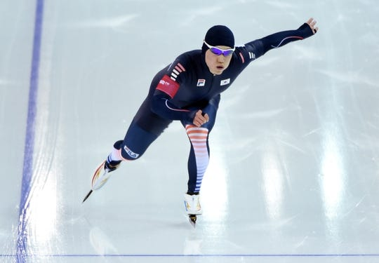 Feb 10, 2014; Sochi, RUSSIA; Tae Bum Mo (KOR) during the men's speedskating 500m race during the Sochi 2014 Olympic Winter Games at Adler Arena Skating Center. Mandatory Credit: Robert Hanashiro-USA TODAY Sports