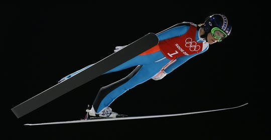 Feb 10, 2014; Krasnaya Polyana, RUSSIA; Sarah Hendrickson (USA) jumps during the Sochi 2014 Olympic Winter Games at RusSki Gorki Ski Jumping Center. Mandatory Credit: Rob Schumacher-USA TODAY Sports