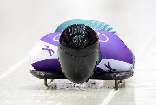 Feb 11, 2014; Krasnaya Polyana, RUSSIA; John Farrow (AUS) practices in a training run for men's skeleton during the Sochi 2014 Olympic Winter Games at Sanki Sliding Center. Mandatory Credit: John David Mercer-USA TODAY Sports