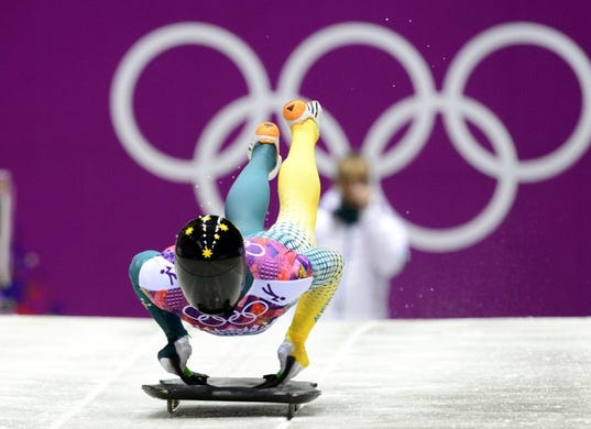 Feb 15, 2014; Krasnaya Polyana, RUSSIA; John Farrow (AUS) on his third run in the men's skeleton during the Sochi 2014 Olympic Winter Games at Sanki Sliding Center. Mandatory Credit: John David Mercer-USA TODAY Sports