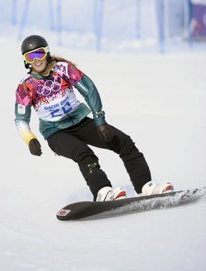 Feb 16, 2014; Krasnaya Polyana, RUSSIA; Torah Bright (AUS) after her first run in the ladies snowboard cross during the Sochi 2014 Olympic Winter Games at Rosa Khutor Extreme Park. Mandatory Credit: Jack Gruber-USA TODAY Sports