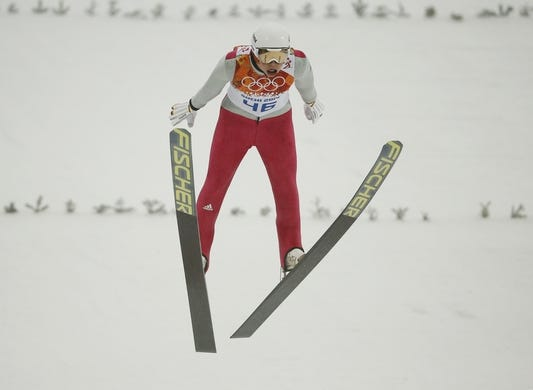 Feb 18, 2014; Krasnaya Polyana, RUSSIA; Eric Frenzel (GER) competes in the nordic combined individual gunderson during the Sochi 2014 Olympic Winter Games at RusSki Gorki Ski Jumping Center. Mandatory Credit: Rob Schumacher-USA TODAY Sports