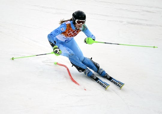 Feb 21, 2014; Krasnaya Polyana, RUSSIA; Tina Maze (SLO) competes in the first run in ladies' alpine skiing slalom during the Sochi 2014 Olympic Winter Games at Rosa Khutor Alpine Center. Mandatory Credit: Jack Gruber-USA TODAY Sports