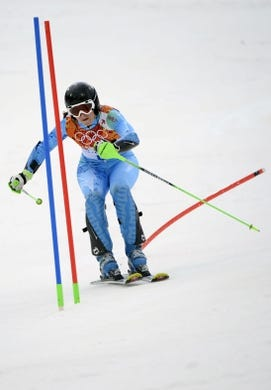 Feb 21, 2014; Krasnaya Polyana, RUSSIA; Tina Maze (SLO) competes in her first run of the ladies slalom during the Sochi 2014 Olympic Winter Games at Rosa Khutor Alpine Center. Mandatory Credit: Eric Bolte-USA TODAY Sports