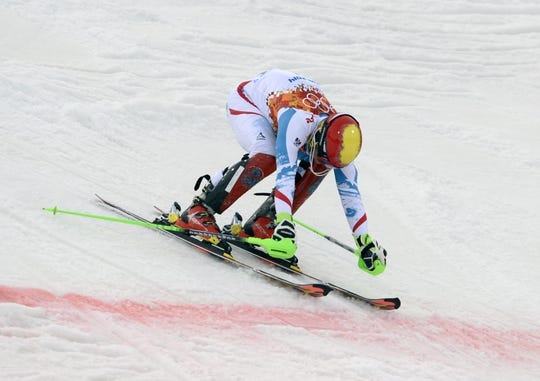 Feb 22, 2014; Krasnaya Polyana, RUSSIA; Marcel Hirscher (AUT) competes in the first run of men's alpine skiing slalom during the Sochi 2014 Olympic Winter Games at Rosa Khutor Alpine Center. Mandatory Credit: Jack Gruber-USA TODAY Sports
