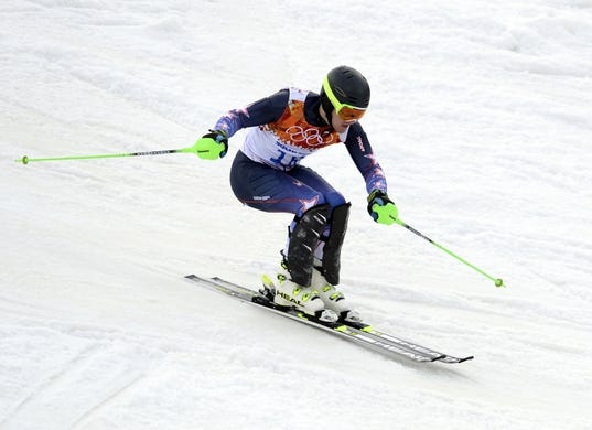 Feb 22, 2014; Krasnaya Polyana, RUSSIA; Ted Ligety (USA) competes in the first run of men's alpine skiing slalom during the Sochi 2014 Olympic Winter Games at Rosa Khutor Alpine Center. Mandatory Credit: Jack Gruber-USA TODAY Sports