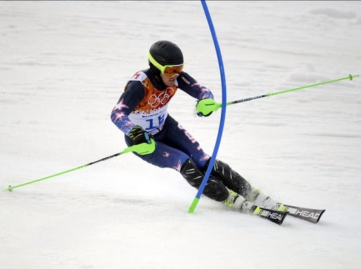Feb 22, 2014; Krasnaya Polyana, RUSSIA; Ted Ligety (USA) competes in the first run of men's alpine skiing slalom during the Sochi 2014 Olympic Winter Games at Rosa Khutor Alpine Center. Mandatory Credit: Eric Bolte-USA TODAY Sports