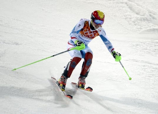 Feb 22, 2014; Krasnaya Polyana, RUSSIA; Marcel Hirscher (AUT) competes in the second run of men's alpine skiing slalom during the Sochi 2014 Olympic Winter Games at Rosa Khutor Alpine Center. Mandatory Credit: Jack Gruber-USA TODAY Sports