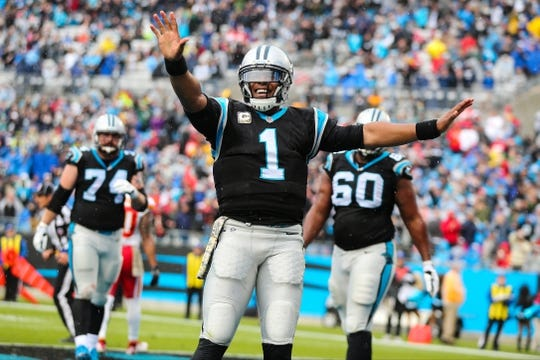 Nov 13, 2016; Charlotte, NC, USA; Carolina Panthers quarterback Cam Newton (1) reacts after his rushing touchdown in the second quarter against the Kansas City Chiefs at Bank of America Stadium. Mandatory Credit: Jim Dedmon-USA TODAY Sports
