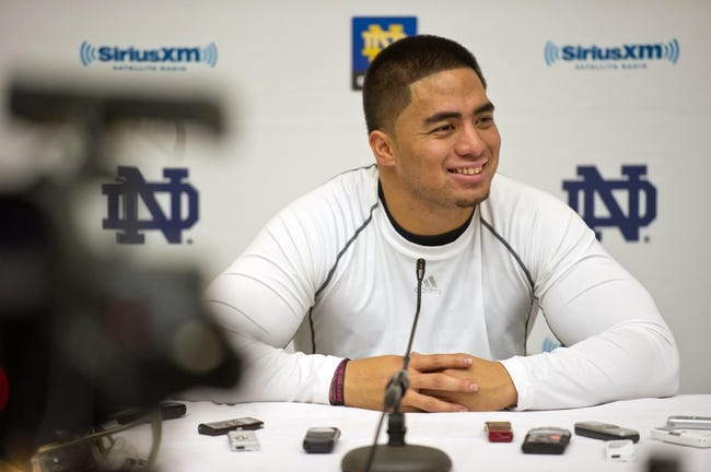 Mar 26, 2013; South Bend, IN, USA; Notre Dame Fighting Irish former players Manti Te'o answers questions at a news conference at the Guglielmino Athletics Complex after Notre Dame pro day. Mandatory Credit: Matt Cashore-USA TODAY Sports