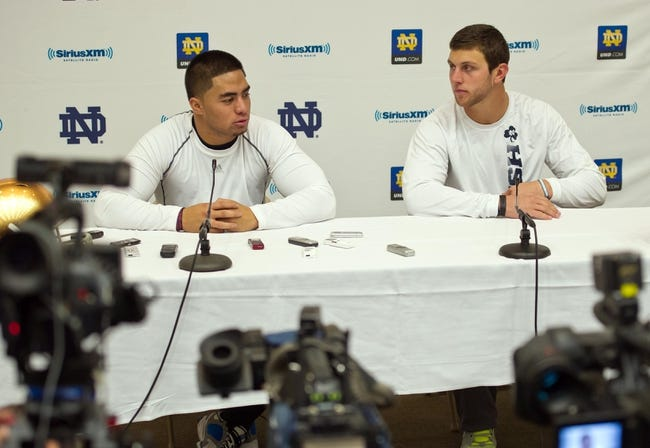 Mar 26, 2013; South Bend, IN, USA; Notre Dame Fighting Irish former players Manti Te'o (left) and Tyler Eifert answer questions at a news conference at the Guglielmino Athletics Complex after Notre Dame pro day. Mandatory Credit: Matt Cashore-USA TODAY Sports