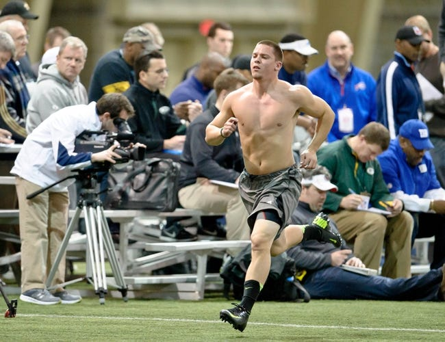 Mar 26, 2013; South Bend, IN, USA; Notre Dame Fighting Irish former player Robby Toma participates in drills during Notre Dame pro day at the Loftus Center. Mandatory Credit: Matt Cashore-USA TODAY Sports