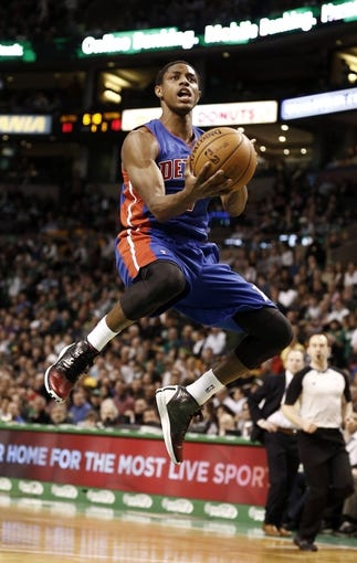 Apr 3, 2013; Boston, MA, USA; Detroit Pistons forward Brandon Knight drives to the basket against the Boston Celtics during the first quarter of an NBA game at TD Garden. Mandatory Credit: Winslow Townson-USA TODAY Sports