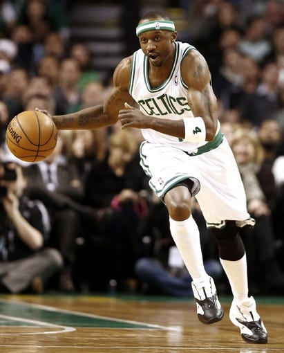 Apr 3, 2013; Boston, MA, USA; Boston Celtics shooting guard Jason Terry dribbles the ball up the court during the fourth quarter of Boston's 98-93 win over the Detroit Pistons in an NBA game at TD Garden. Mandatory Credit: Winslow Townson-USA TODAY Sports