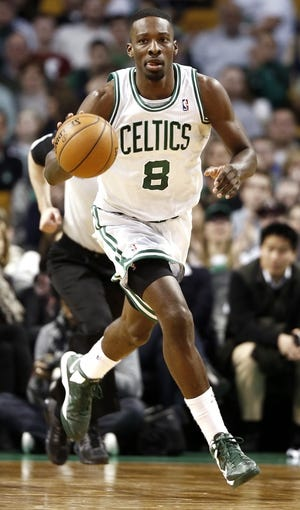 Apr 3, 2013; Boston, MA, USA; Boston Celtics power forward Jeff Green (8) dribbles up the court during the fourth quarter of Boston's 98-93 win over the Detroit Pistons in an NBA game at TD Garden. Mandatory Credit: Winslow Townson-USA TODAY Sports