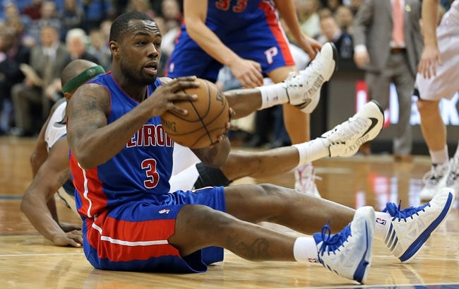 Apr 6, 2013; Minneapolis, MN, USA; Detroit Pistons point guard Rodney Stuckey (3) looks for someone to pass to after diving for a loose ball in the second half against the Minnesota Timberwolves at Target Center. The Timberwolves won 107-101. Mandatory Credit: Jesse Johnson-USA TODAY Sports