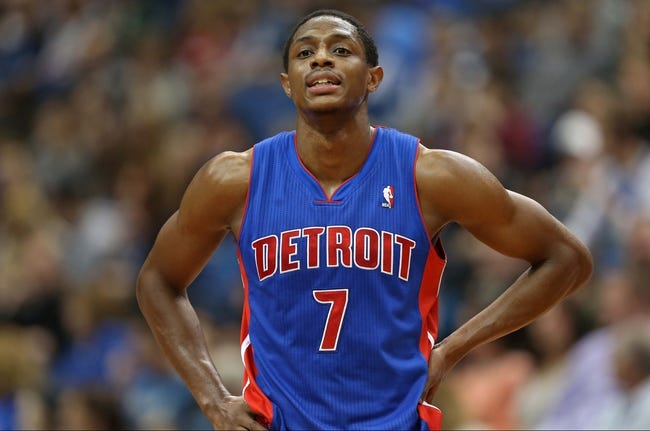 Apr 6, 2013; Minneapolis, MN, USA; Detroit Pistons point guard Brandon Knight (7) looks on during a free throw in the second half against the Minnesota Timberwolves at Target Center. The Timberwolves won 107-101. Mandatory Credit: Jesse Johnson-USA TODAY Sports