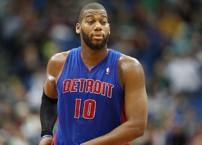 Apr 6, 2013; Minneapolis, MN, USA; Detroit Pistons center Greg Monroe (10) looks on during a free throw in the second half against the Minnesota Timberwolves at Target Center. The Timberwolves won 107-101. Mandatory Credit: Jesse Johnson-USA TODAY Sports