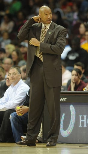 Apr 7, 2013; Cleveland, OH, USA; Cleveland Cavaliers head coach Byron Scott during the game against the Orlando Magic at Quicken Loans Arena. Mandatory Credit: Eric P. Mull-USA TODAY Sports
