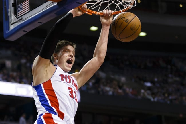 April 7, 2013; Auburn Hills, MI, USA; Detroit Pistons power forward Jonas Jerebko (33) dunks the ball in the fourth quarter against the Chicago Bulls at The Palace. Detroit won 99-85. Mandatory Credit: Rick Osentoski-USA TODAY Sports