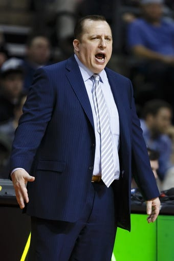 April 7, 2013; Auburn Hills, MI, USA; Chicago Bulls head coach Tom Thibodeau reacts in the second quarter against the Detroit Pistons at The Palace. Mandatory Credit: Rick Osentoski-USA TODAY Sports