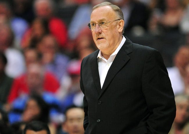 April 10, 2013; Los Angeles, CA, USA; Minnesota Timberwolves head coach Rick Adelman watches game action against the Los Angeles Clippers during the first half at Staples Center. Mandatory Credit: Gary A. Vasquez-USA TODAY Sports
