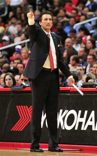 April 10, 2013; Los Angeles, CA, USA; Los Angeles Clippers head coach Vinny Del Negro watches game action against the Minnesota Timberwolves during the second half at Staples Center. Mandatory Credit: Gary A. Vasquez-USA TODAY Sports