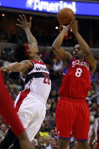 Apr 12, 2013; Washington, DC, USA; Philadelphia 76ers shooting guard Damien Wilkins (8) shoots the ball over Washington Wizards power forward Cartier Martin (20) in the fourth quarter at Verizon Center. The 76ers won 97-86. Mandatory Credit: Geoff Burke-USA TODAY Sports