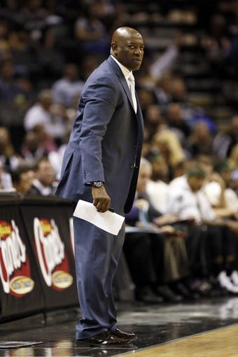 Apr 12, 2013; San Antonio, TX, USA; Sacramento Kings head coach Keith Smart during the first half against the San Antonio Spurs at the AT&T Center. Mandatory Credit: Soobum Im-USA TODAY Sports