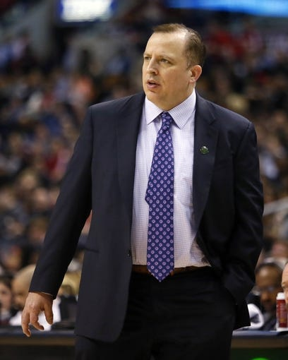 Apr 12, 2013; Toronto, Ontario, CAN; Chicago Bulls head coach Tom Thibodeau on the sidelines against the Toronto Raptors at the Air Canada Centre. Toronto defeated Chicago 97-88. Mandatory Credit: John E. Sokolowski-USA TODAY Sports