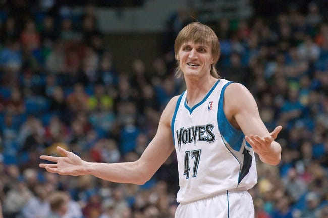 Apr 13, 2013; Minneapolis, MN, USA; Minnesota Timberwolves small forward Andrei Kirilenko (47) reacts after a call during the third quarter against the Phoenix Suns at the Target Center. Timberwolves won 105-93. Mandatory Credit:  Greg Smith-USA TODAY Sports
