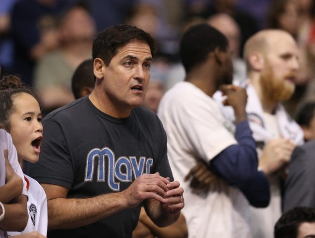 April 12, 2013; Dallas, TX, USA;  Dallas Mavericks owner Mark Cuban reacts to a call during overtime against the Denver Nuggets at the American Airlines Center. Mandatory Credit: Matthew Emmons-USA TODAY Sports
