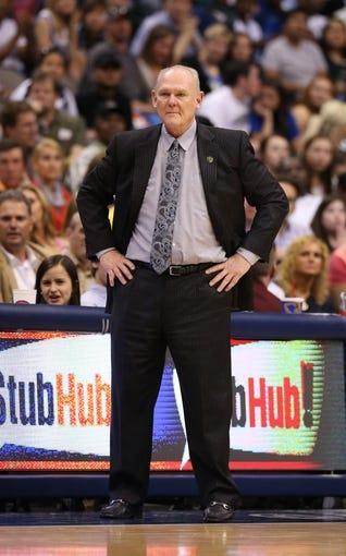 April 12, 2013; Dallas, TX, USA; Denver Nuggets head coach George Karl during the game against the Dallas Mavericks at the American Airlines Center. Mandatory Credit: Matthew Emmons-USA TODAY Sports