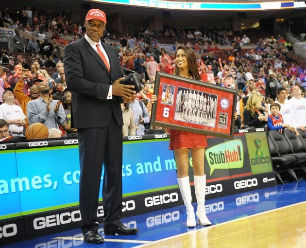 Apr 14, 2013; Philadelphia, PA, USA; Julius Erving of the Philadelphia 76ers 1982-83 NBA Championship team was honored for their 30th anniversary celebration during halftime of the game between Philadelphia 76ers and Cleveland Cavaliers at the Wells Fargo Center. Mandatory Credit: Eric Hartline-USA TODAY Sports