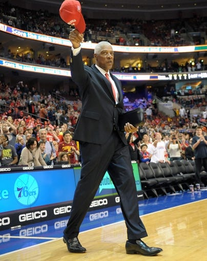 Apr 14, 2013; Philadelphia, PA, USA; Julius Erving of the Philadelphia 76ers 1982-83 NBA Championship team waves to the crowd during their 30th anniversary celebration during halftime of the game between Philadelphia 76ers and Cleveland Cavaliers at the Wells Fargo Center. Mandatory Credit: Eric Hartline-USA TODAY Sports