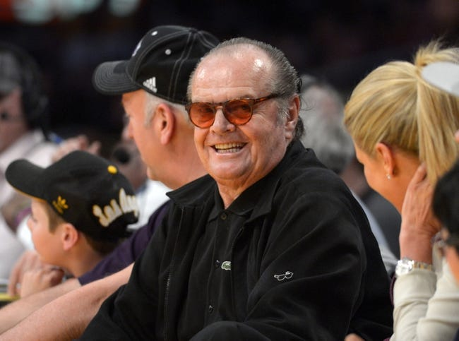 Apr 14, 2013; Los Angeles, CA, USA; Film actor Jack Nicholson reacts during the NBA game between the San Antonio Spurs and the Los Angeles Lakers at the Staples Center. Mandatory Credit: Kirby Lee-USA TODAY Sports