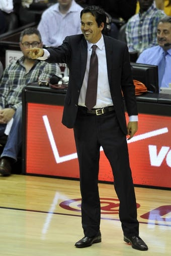 Apr 15, 2013; Cleveland, OH, USA; Miami Heat head coach Erik Spoelstra points in the fourth quarter against the Cleveland Cavaliers at Quicken Loans Arena. Mandatory Credit: David Richard-USA TODAY Sports