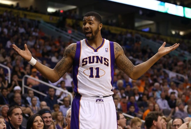 Apr. 15, 2013; Phoenix, AZ, USA: Phoenix Suns forward Markieff Morris reacts to a foul call against him in the first quarter against the Houston Rockets at the US Airways Center. Mandatory Credit: Mark J. Rebilas-USA TODAY Sports