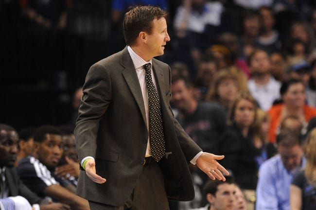 Apr 15, 2013; Oklahoma City, OK, USA; Okahoma City Thunder head coach Scott Brooks reacts to a play in action against the Sacramento Kings during the second half at Chesapeake Energy Arena. Mandatory Credit: Mark D. Smith-USA TODAY Sports