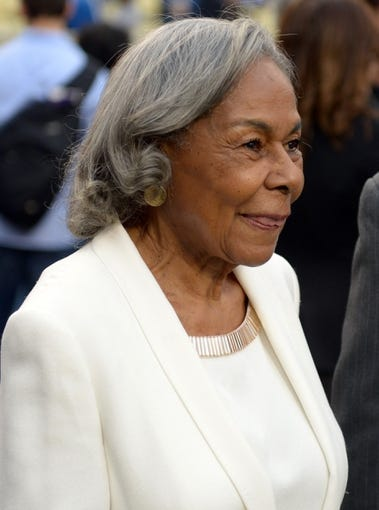 Apr 15, 2013; Los Angeles, CA, USA; Rachel Robinson attends the MLB game between the San Diego Padres and the Los Angeles Dodgers at Dodger Stadium. Robinson is the wife of the late Jackie Robinson (not pictured). Mandatory Credit: Kirby Lee-USA TODAY Sports