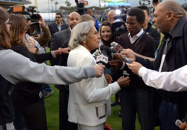 Apr 15, 2013; Los Angeles, CA, USA; Rachel Robinson is interviewed before the MLB game between the San Diego Padres and the Los Angeles Dodgers at Dodger Stadium. Robinson is the wife of the late Jackie Robinson (not pictured). Mandatory Credit: Kirby Lee-USA TODAY Sports