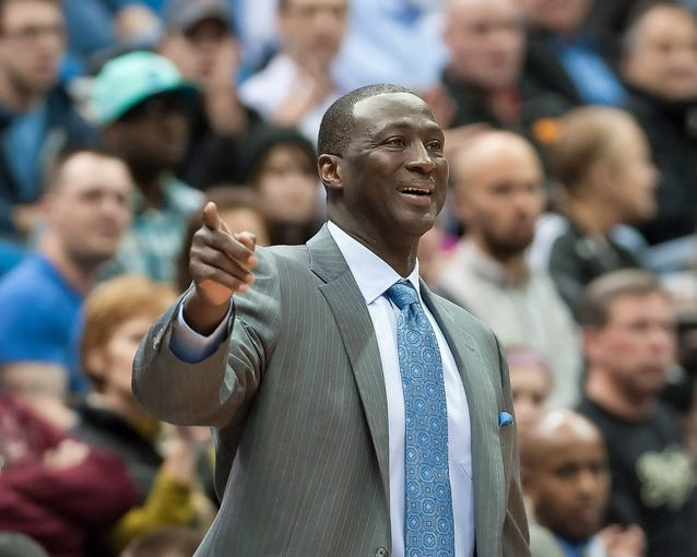 Apr 15, 2013; Minneapolis, MN, USA; Utah Jazz head coach Tyrone Corbin reacts to a call in the fourth quarter against the Minnesota Timberwolves at Target Center. The Jazz won 96-80. Mandatory Credit:  Greg Smith-USA TODAY Sports