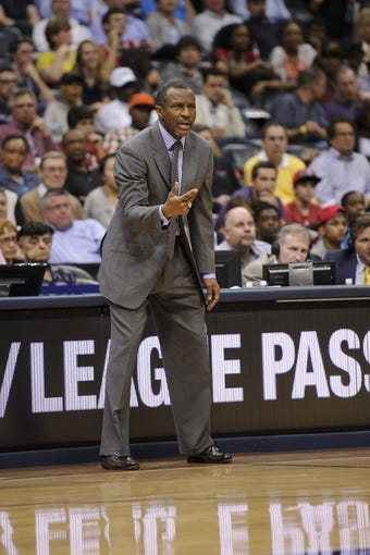 Apr 16, 2013; Atlanta, GA, USA; Toronto Raptors head coach Dwane Casey reacts to play against the Atlanta Hawks during the second half at Philips Arena. The Raptors won 113-96. Mandatory Credit: Paul Abell-USA TODAY Sports