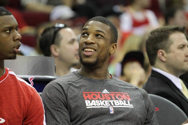 April 14, 2013; Houston, TX, USA; Sacramento Kings power forward Thomas Robinson (41) on the bench against the Houston Rockets in the third quarter at the Toyota Center. The Rockets defeated the Kings 121-100. Mandatory Credit: Brett Davis-USA TODAY Sports