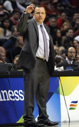 Apr 17, 2013; Chicago, IL, USA;  Chicago Bulls head coach Tom Thibodeau coaches against the Washington Wizards during the first half at the United Center. Mandatory Credit: David Banks-USA TODAY Sports