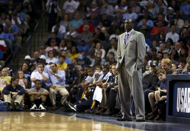Apr 17, 2013; Memphis, TN, USA;  Utah Jazz head coach Tyrone Corbin reacts during the game against the Memphis Grizzlies at FedEx Forum.  Mandatory Credit: Spruce Derden   USA TODAY Sports