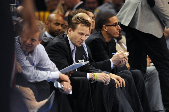 Apr 17, 2013; Oklahoma City, OK, USA; Oklahoma City Thunder head coach Scott Brooks reacts to play in action against the Milwaukee Bucks during the second half at Chesapeake Energy Arena. Mandatory Credit: Mark D. Smith-USA TODAY Sports