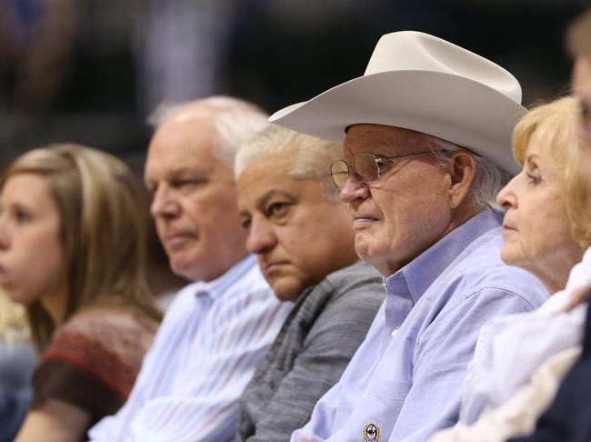 Apr 17, 2013; Dallas, TX, USA; Dallas Mavericks former owner Don Carter in attendance for the last game of the season against the New Orleans Hornets at American Airlines Center. Mandatory Credit: Matthew Emmons-USA TODAY Sports