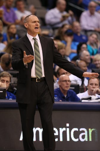 Apr 17, 2013; Dallas, TX, USA; Dallas Mavericks head coach Rick Carlisle reacts against the New Orleans Hornets at American Airlines Center. Mandatory Credit: Matthew Emmons-USA TODAY Sports